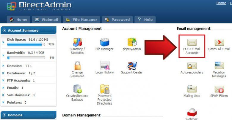 آموزش ساخت اکانت ایمیل در هاست لینوکسDirect Admin 1