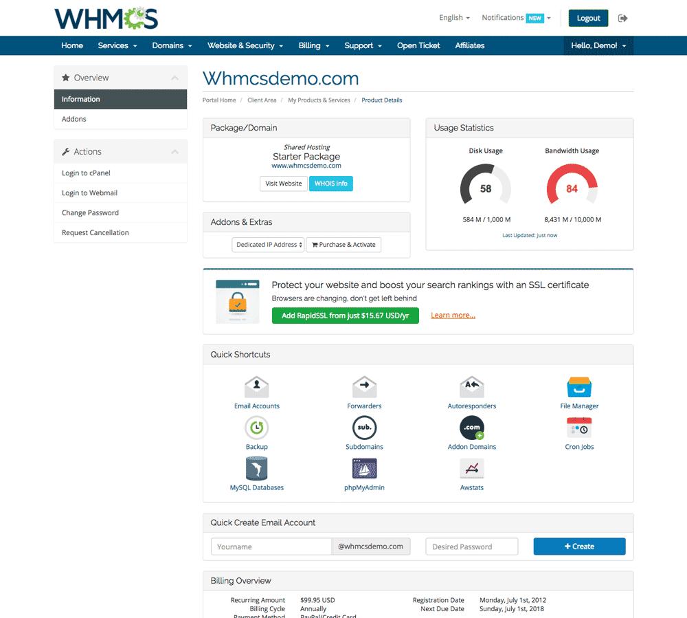 محیط کاربری whmcs