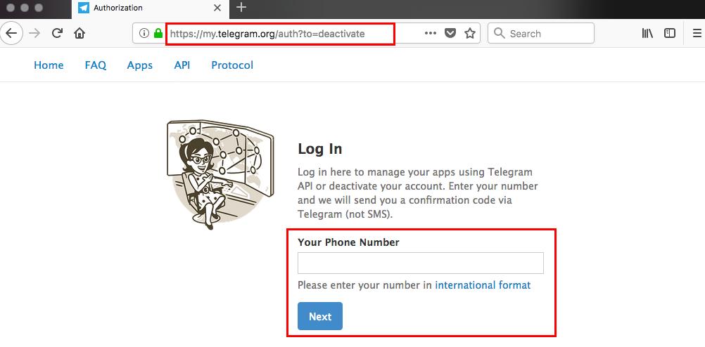 قدم اول حذف اکانت تلگرام