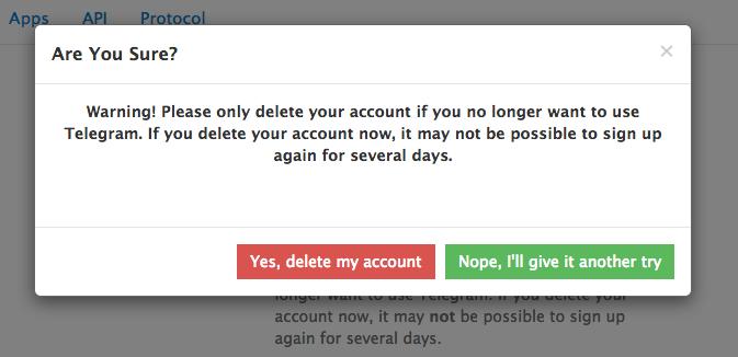 تایید حذف تلگرام