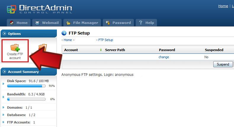 آموزش ساخت اکانت Ftp در هاست لینوکس Direct Admin 1