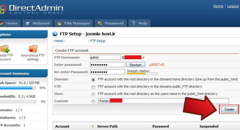 آموزش ساخت اکانت Ftp در هاست لینوکس Direct Admin 2