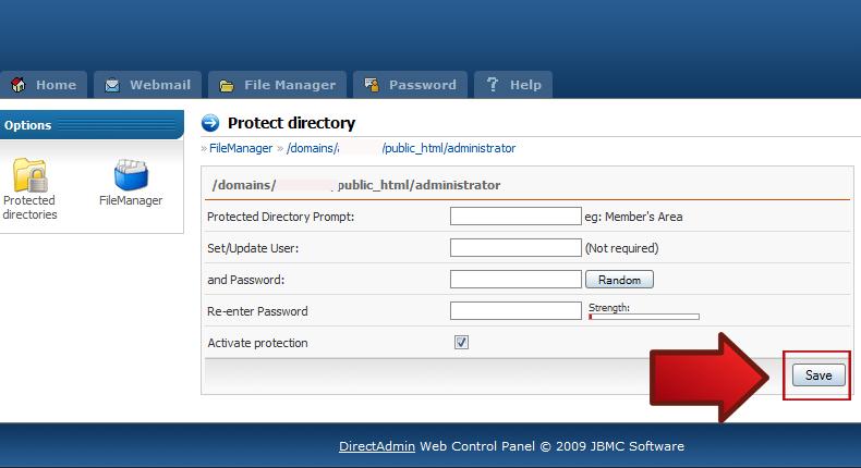 آموزش رمز گذاری بر روی فولدر ادمین در Direct Admin 4