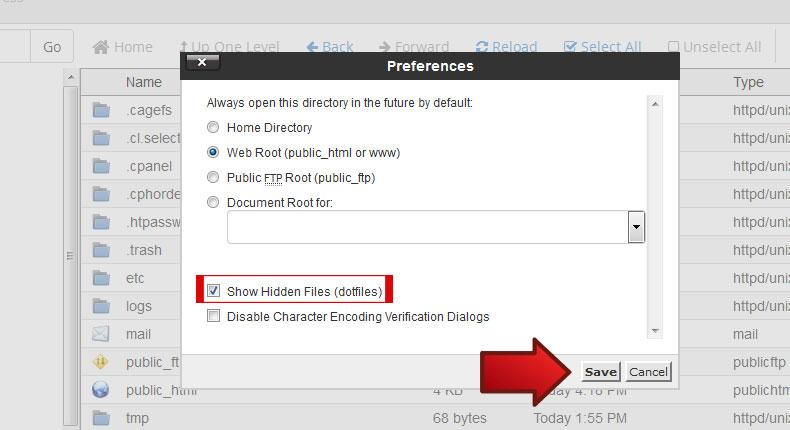 نمایش فایل های مخفی و htaccess در CPanel 4