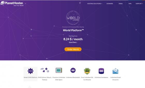 سرویس میزبانی وب پلت فرم جهانی - PlanetHoster