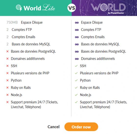 مقایسه - میزبانی وب - World Lite - World