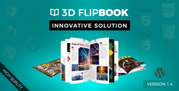 دانلود رایگان Interactive 3D FlipBook Powered Physics Engine WordPress Plugin